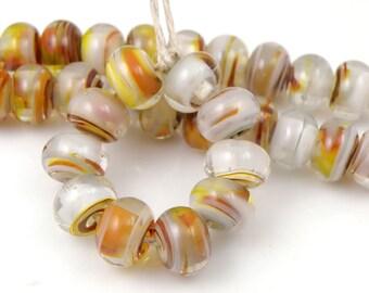 September Morn Swirls Made to Order SRA Lampwork Handmade Artisan Glass Spacer Beads Set of 10 5x9mm