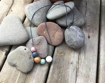 Hand-Painted Wood Bead Necklace
