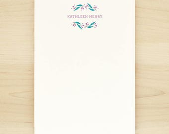 FROLIC [PEACOCK COLORWAY] Personalized Notepad - Flower Floral Pretty