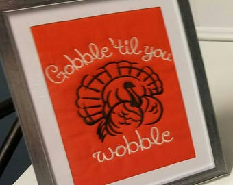 5 by 7 framed turkey Thanksgiving embroidered picture