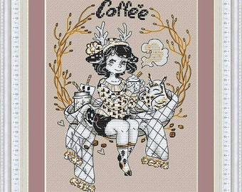 "Cross Stitch Pattern ""Girl-deer with coffee"" DMC Cross Stitch Chart Needlepoint Pattern Embroidery Chart Printable PDF Instant Download"