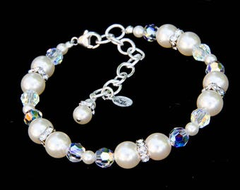 Ivory Pearl Bridal Bracelet with Swarovski® Pearls, Crystals, and Rhodium Plated Rhinestone Spacers with Adjustable Sterling Silver Chain