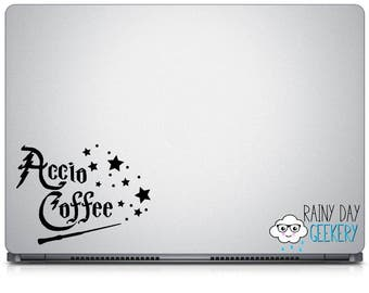 Accio Coffee Vinyl Decal - Car Window Decal - Laptop Decal - Yeti Decal - Travel Coffee MugDecal - Accio Coffee Decal with Stars