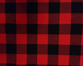 Red and Black Tartan French terry -  Lilly and Mimi Fabric Shop UK