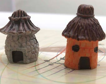 2 Pc Brown Tan Gray Cottage House Hut - Miniature Garden Plants Terrarium Doll House Ornament Fairy Decoration GP011518