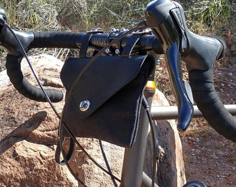 Bicycle Bag, Wristlet / Clutch, Black Leather and Black Waxed Canvas, Hand Made in USA