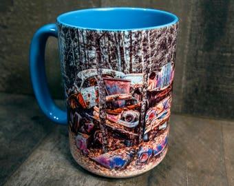 Cozy Junkyard Classic Car Coffee Mug 15oz Colorful Old European Antique Cars