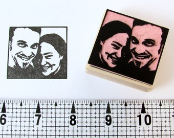 Hand carved, Custom, Portrait, Rubber Stamp