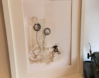 Cottonwool clouds ... steampunk quirky contemporary illustration using found objects. Assemblage