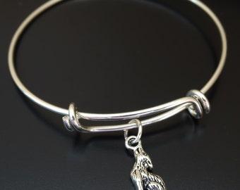 Wolf Bangle Bracelet, Adjustable Expandable Bangle Bracelet, Wolf Charm, Wolf Pendant, Wolf Jewelry, Wolf Bracelet, Werewolf, Howling Wolf