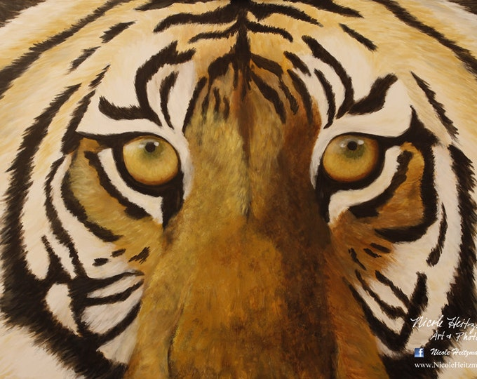 Tiger art print Tiger eyes Tiger painting Big Cat art Canvas print Tiger stripes cat art animal painting Eagerly Awaiting by Nicole Heitzman