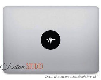 Sound Waves Macbook Decal / Sound Waves Icon Macbook Sticker / Music Vinyl Decal / Round Circle Laptop Notebook Macbook Air Pro Skin - T016