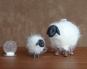 Handmade Country Angora Sheep and Lamb