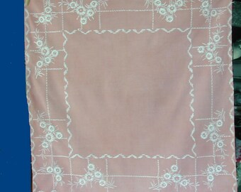 Vintage Mid Century Hand Embroidered Small Dusty Rose Tablecloth