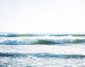 """Ocean Beach Decor, Coastal Blue White, Beach Decor, Blue Beach Art, Surf Decor, Beach Room, Wave Photograph, California Beach Art """" Waves"""""""