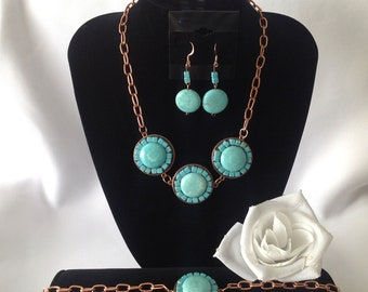 Blue Sun Magnesite and Copper Trio Set: Version 2
