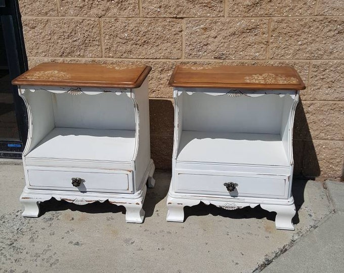 PICK UP ONLY Pair Vintage Shabby chic table, accent table, farmhouse, country bedroom, cottage night stand, bedside table, french country,