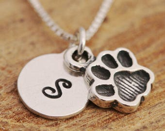 Sterling Silver Paw Print Necklace, Silver Paw Necklace, Paw Necklace, Initial Necklace, Sterling Silver Paw Necklace, Silver Disc Necklace