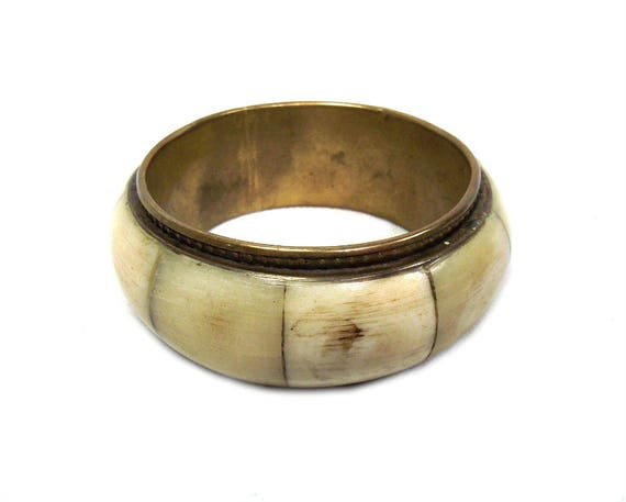 Vintage Brass and Bone Bangle