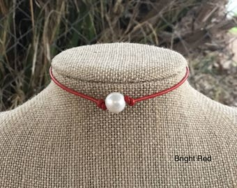 Pearl Choker, Red Leather Pearl Necklace, Boho Necklace, Leather and Pearl Choker Necklace for Women on Leather Cord