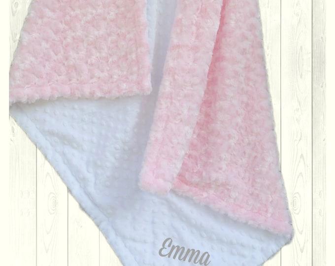 Minky Baby Blanket - Pink Swirl with White Minky Dot Baby Blanket - Pink and White Minky Blanket -
