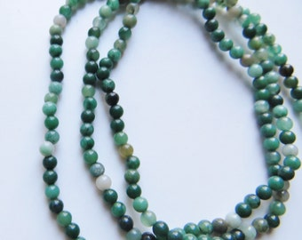 2mm - 2.5mm Smooth, Round Green Aventurine Gemstone Beads, 16 inch strand