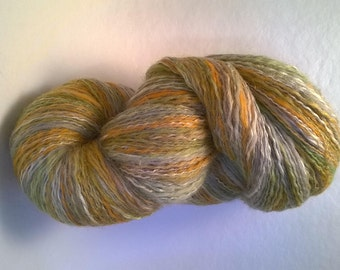 skein merinos and silk twisted with a polyester thread