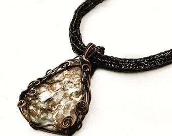 Copper Wire Wrapped Rhyolite and Copper on a Viking Knit Chain
