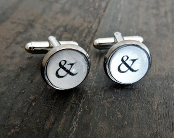 Groomsmen Ampersand cuff links // Typewriter cufflinks - 6 sets for wedding // Groomsmen cuff links