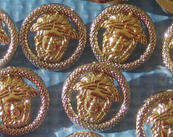 MEDUSA Set 12 BOTH SiLVeR & GoLd Versace Inspired Style Buttons PIERCED 7/8""