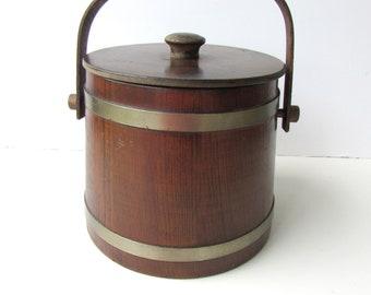 Mid Century Barware - Wooden Ice Bucket - Basketville - Putney Vermont - Plastic Lined - Barrel Shaped - Dark Wood -