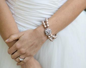 champagne swarovski pearl and crystal Bracelet Statement Bridal Bracelet Bridal Cuff Wedding Rhinestone Bracelet swarovski crystal Roselani