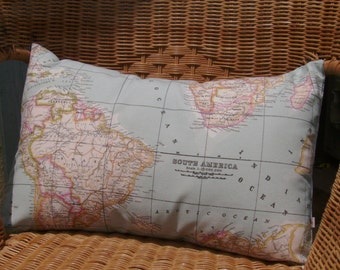 World map pillow cover, world map cushion cover, as seen in Marie Claire, decorative pillow, blue pillow cover, decorative map pillow