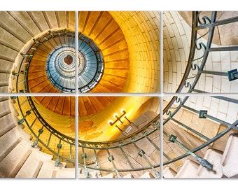 """Hexaptyque """"L'escalier du Phare d'Eckmuhl"""", 6 tirages d'art 20 x 20 cm contrecollés sur Forex"""