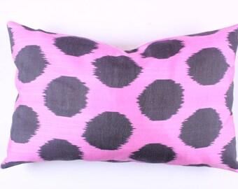 Buglem / Handmade Silk cotton ikat Pillow Cover- 15,60x24,40 inch