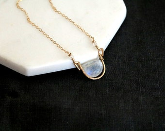 Moonstone necklace, June birthstone Rainbow Moonstone choker half moon necklace gold white and gold Vitrine Designs Rockpool Necklace