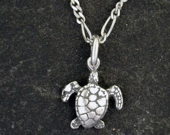 Sterling Silver Tiny Sea Turtle Pendant on a Sterling Silver Chain