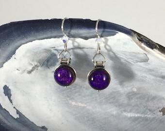 Sterling Earrings: Deep Purple Dichroic Fused Glass