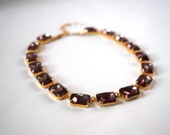 Amethyst Collet Necklace, Anna Wintour Jewelry, Light Purple 18th Century Necklace, Georgian Paste. Regency, 18th Century, 19th Century,