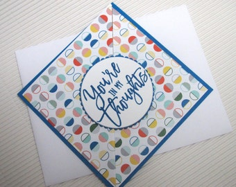 You're in my thoughts handmade stamped friendship masculine fancy fold thinking of you orange blue modern stationery greeting home living