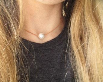 Pearl choker with tan leather, pearl choker, pearl choker necklace, Leather pearl choker, pearl choker, pearl jewelry