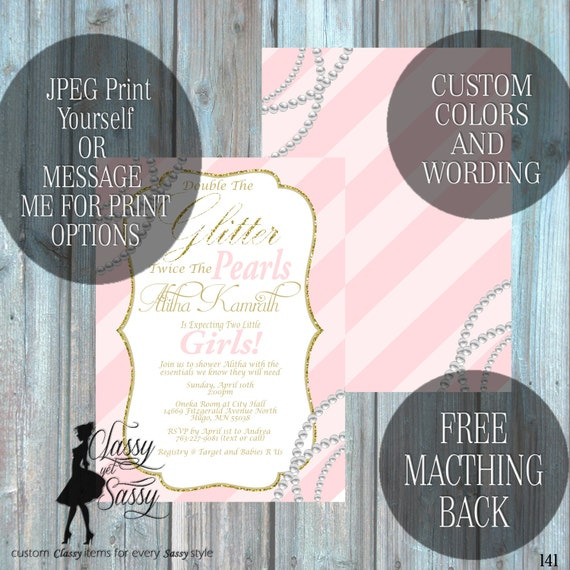 Twin Girls Baby Shower Invitation, Double the Glitter Double the Pearls Glitter Baby Shower 141