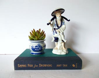 Chinoiserie Blue and White Chinoiserie Asian Figurine Asian Statue Asian Decor Oriental Decor Hollywood Regency Decor Chinoiserie Statue