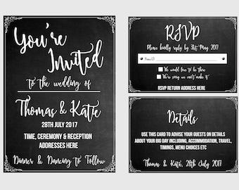 Chalk Board Effect Invitation Set  - Pack of 20 Sets