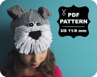 English-French Two Needle KNITTING PATTERN / Digital Download / #64 / Knitted Schnauzer dog Hat / 6-16M to 5 years-Adult / US11 / 8mm
