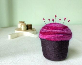 Pincushion - Felted Cupcake, Raspberry Swirl