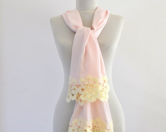 Pashmina Scarf Women Scarf with Crocheted Flower Motifs Fashion Accessories Pale Pink Ivory