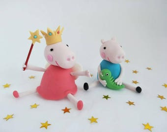 Peppa Pig / George Pig cake topper, edible fondant, Peppa Pig theme party item, kids cartoon character name and number each ABC kids