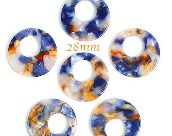 2 blue ochre hoop pendants resin 28mm