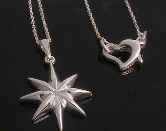 Diamond star with a heart clasp